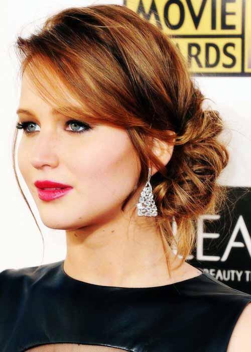 Jennifer Lawrence Updo Medium Hairstyle Best Hairstyles Design