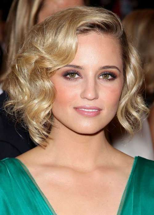 Dianna Agron Bob Hairstyle Curled Retro Best Hairstyles Design